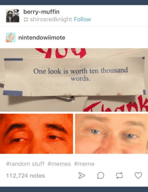 Meme, Memes, and Stuff: berry-muffin  shirosredknight Follow  nintendowiimote  One look is worth ten thousand  words.  #random stuff #memes #meme  112,724 notes