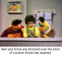 Shola has a lot of cocaine.: Bert and Ernie are shocked over the kilo's  of cocaine Shola has stashed Shola has a lot of cocaine.