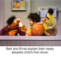 """Hey, if Bert could fit it, you can with practice!"": Bert and Ernie explain their newly  adopted child's first chore. ""Hey, if Bert could fit it, you can with practice!"""