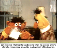 """You'll never guess the secret ingredient!"": Bert wonders what his life has become when  he accepts Ernie's  offer of a home-made smoothie, made entirely of Bort semen. ""You'll never guess the secret ingredient!"""
