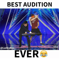 Memes, 🤖, and Dab: BEST AUDITION  abz  @Lanky Box  EVER Wait for it...TAG a friend! 😂 Make sure to watch the FULL video on YouTube, link in BIO! xfactor agt dab Follow @LankyBox for more!