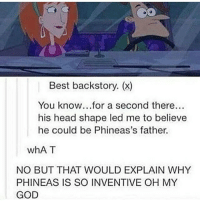 Dad, God, and Head: Best backstory. (x)  You know...for a second there...  his head shape led me to believe  he could be Phineas's father.  whAT  NO BUT THAT WOULD EXPLAIN WHY  PHINEAS IS SO INVENTIVE OH MY  GOD Ok ok but this works cause the dad in the show is phineas' STEP-DAD and we never find out who his real dad is???!! ~😎 📷: @fune_clean_memes