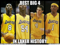 Facebook, Nba, and Best: BEST BIG 4  TAKERS  N LAKER HISTOR  Brought By:www.facebook.com/NBAMemes  00 The vintage LakeShow! Credit: Luckzz Nagaño