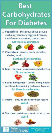 Memes, Diabetes, and Potato: Best  Carbohydrates  For Diabetes  1. Vegetables that grow above ground  such as green leafy veggies, broccoli,  cauliflower, cucumber, tomato etc.  Eat these in abundance  2. Vegetables carrots, beets, pumpkin,  celeriac, turnip.  Eat these in moderation  3. Fruit berries strawberries, blueberries.  1/2 cup per serve  4. Beans & Legumes Lentils, mung beans,  northern beans 6-7 g carbs per 1/4 cup.  Eat these in moderation  5. Grains exclude grains for best results  Avoid  6. Starches potatoes, sweet potato, corn  Avoid  Making Tour Time In The Knehen  MEAL PLANS  Easy & Enjoyable! What are some of the best sources of carbs for diabetes? Which ones do you swear by?