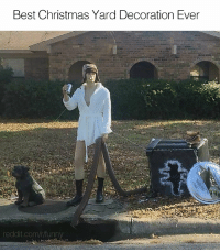 Funny, Decoration, and Yard: Best Christmas Yard Decoration Ever  reddit.com/r funny If she doesn't get the joke, she's too young for you bro.