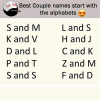 Be Like, Meme, and Memes: , Best Couple names start with  the alphabets  S and M  K and V  D and L  P and T  S and S  L and S  H and J  C and K  Z and M  F and D Twitter: BLB247 Snapchat : BELIKEBRO.COM belikebro sarcasm meme Follow @be.like.bro