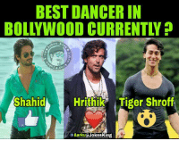 Memes, Tiger, and Tigers: BEST DANCER IN  Shahid  A Hrithik Tiger Shroff  fAarku (a Jokesking Batao batao 😛