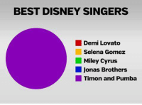 Demi Lovato, Disney, and Memes: BEST DISNEY SINGERS  Demi Lovato  Selena Gomez  Miley Cyrus  Jonas Brothers  Timon and Pumba