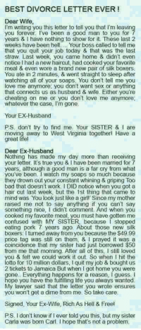 BEST DIVORCE LETTER EVER! Dear Wife I'm Writing You This Letter to