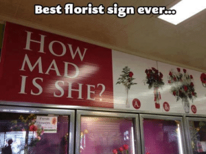 Funny, Best, and Mad: Best florist sign ever..  How  MAD  A.  Presh  ower