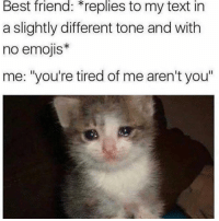 "Best Friend, Funny, and Best: Best  friend:  replies  to  my  text  in  a slightly different tone and with  no emojis*  me: ""you're tired of me aren't you"" 👀"