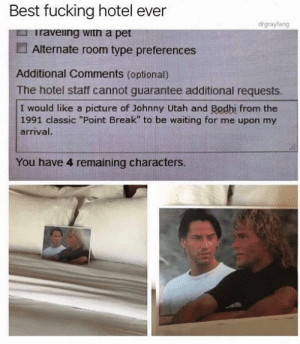 """Best hotel ever via /r/funny https://ift.tt/2mnN0pu: Best fucking hotel even  drgrayfang  raveiing witn a pet  Alternate room type preferences  Additional Comments (optional)  The hotel staff cannot guarantee additional requests  I would like a picture of Johnny Utah and Bodhi from the  1991 classic """"Point Break"""" to be waiting for me upon my  arriva  You have 4 remaining characters. Best hotel ever via /r/funny https://ift.tt/2mnN0pu"""