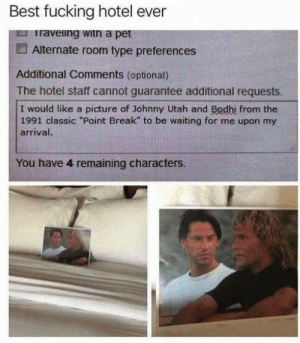 "Dank, Fucking, and Memes: Best fucking hotel ever  Iraveing witn a pet  Alternate room type preferences  Additional Comments (optional)  The hotel staff cannot guarantee additional requests  I would like a picture of Johnny Utah and Bodhi from the  1991 classic ""Point Break"" to be waiting for me upon my  arrival.  You have 4 remaining characters. me irl by julieeea FOLLOW HERE 4 MORE MEMES."