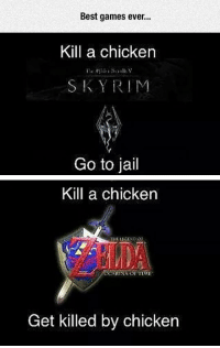 """Jail, Skyrim, and Target: Best games ever..  Kill a chicken  SKYRIM  Go to jail  Kill a chicken  THE LEGENO  RINA OE TIME  Get killed by chicken <p><a href=""""http://srsfunny.net/post/171607354476/the-chicken-makes-the-difference"""" class=""""tumblr_blog"""" target=""""_blank"""">srsfunny</a>:</p> <blockquote><p>The Chicken Makes The Difference</p></blockquote>"""