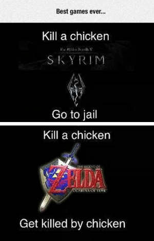 srsfunny:The Chicken Makes The Difference: Best games ever..  Kill a chicken  SKYRIM  Go to jail  Kill a chicken  THE LEGENO  RINA OE TIME  Get killed by chicken srsfunny:The Chicken Makes The Difference