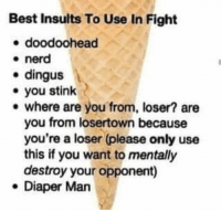 Nerd, Best, and Insults: Best Insults To Use In Fight  e doodoohead  * nerd  e dingus  you stink  e where are you from, loser? are  you from losertown because  you're a loser (please only use  this if you want to mentally  destroy your opponent)  e Diaper Man