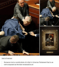 best-of-memes:  Someone took a candid photo of a fight in Ukranian Parliament that is as  well-composed as the best renaissance art Welcome to Classical Art Memes, one of the best pages on Facebook