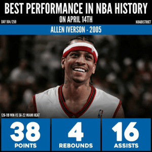 Allen Iverson, Head, and Miami Heat: BEST PERFORMANCE IN NBA HISTORY  ON APRIL 14TH  ALLEN IVERSON- 2005  DAY 104/259  NBADISTRICT  126-119 WIN VS 56-22 MIAMI HEAT  38 416  POINTS  REBOUNDS  ASSISTS Best April 14th Performance in NBA History! - Went with this Sixers v Heat game because both players went off. Iverson Full Statline: 38 PTS, 6 REB, 16 AST, 3 STL, 2 T/O, 11/24 FG, W Wade Full Statline: 48 PTS, 10 REB, 6 AST, 1 STL, 3 T/O, 18/33 FG Korver had 20, rookie Andre Iguodala had 19 and a defensive stop on Wade's game winning attempt at the end of the 4th. (game went to OT) Shaq had 13 PTS, 12 REB, and somehow NINE turnovers - Wade had 15 of Miami's 23 points in the 4Q. Iverson had 7 of the Sixers' 27 in the fourth. Wade then scored 12 of Miami's 15 in OT, and Iverson scored/assisted on 18 of the Sixers' 22 in OT. - Who had the better performance? Could we see a better head to head matchup tonight?🤔