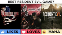 This could get bloody... Vote now! 💀: BEST RESIDENT EVIL GAME?  ESIDENTEIL  RESIDENT EVIL  ohazard  LIKES  LOVES  HAHA This could get bloody... Vote now! 💀