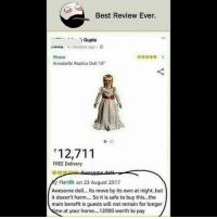 """Be Like, Meme, and Memes: Best Review Ever  Gupta  av.NA 41 minutes ago ,  Mezco  Annabelle Replica Doll 18""""  效☆☆☆ !  12,711  FREE Delivery  y Hardik on 23 August 2017  Awesome doll... Its move by its own at night..but  it doesn't harm.. So it is safe to buy this..the  main benefit is guests will not remain for longer  e at your home... 12000 worth to pay Twitter: BLB247 Snapchat : BELIKEBRO.COM belikebro sarcasm meme Follow @be.like.bro"""