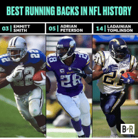 As LaDainian Tomlinson and Terrell Davis enter the Hall, how do they stack up against the best RBs in NFL history? (Link in bio): BEST RUNNING BACKS IN NFL HISTORY  ADRIAN  03 EMMITT  05 PETERSON  14  LADAINIAN  I TOMLINSON  B R As LaDainian Tomlinson and Terrell Davis enter the Hall, how do they stack up against the best RBs in NFL history? (Link in bio)