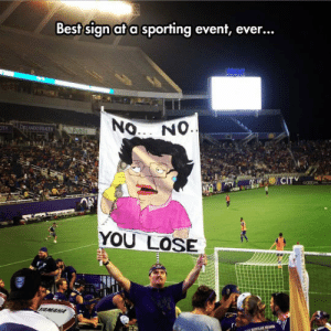 Tumblr, Best, and Blog: Best sign at a sporting event, ever...  ANDO REALTH  YOU LOSE epicjohndoe:  Go Orlando City!