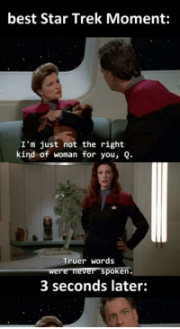 She not talking about the puppy.. Read the full story here 👉 https://1jux.net/615407/70232: best Star Trek Moment:  I'm just not the right  kind of woman for you, Q.  Truer words  were never spoken.  3 seconds later: She not talking about the puppy.. Read the full story here 👉 https://1jux.net/615407/70232