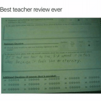 Memes, Teacher, and Best: Best teacher review ever  o cria, would you rate your learning esperience in this O  course  In the pace  please write any overall comments about this coune insuructor not covered above  T T are hoor to re, T d spend it in this  els like an eternity  class because it  Additional Questions lif separate sheet is provided)  00000  21 24 ooooo 27 ooooo 30  00 33  22 25 28 0000 D si ooooo Classic 😂 (@_theblessedone)