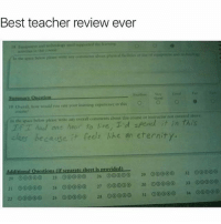 Classic: Best teacher review ever  o cria, would you rate your learning experience in dis O  In the pace below please write any overall comments about this course or instructor not covered ahose  one hacun to ve, Td  els like an eternity.  because  Additional Questions if scearate sheet is provided  32 00  20 23 26 00000  29 00000  21 00 24 27 ooooo 30  33 Classic