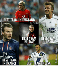 David Beckham always played for the best clubs 😉  Credits:The Football Kingdomm: BEST TEAM IN ENGLAND  The Football Kingdom  BenQ  SIEMENS  BEST TEAM BEST TEAM  IN ITALY  IN SPAIN  Fly  minates  HERBALIFE  BEST TEAM  IN FRANCE  BEST TEAM IN USA David Beckham always played for the best clubs 😉  Credits:The Football Kingdomm