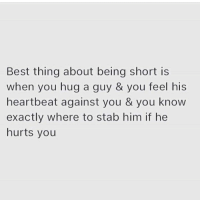 Memes, Best, and 🤖: Best thing about being short is  when you hug a guy & you feel his  heartbeat against you & you know  exactly where to stab him if he  hurts you