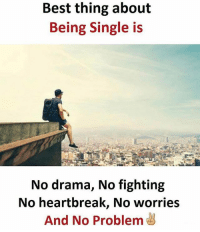👌🏻👌🏻: Best thing about  Being Single is  No drama, No fighting  No heartbreak, No worries  And No Problem 👌🏻👌🏻