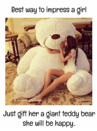 Memes, Bear, and Best: Best way to impress a girl  Just gift her a giant teddy bear  she will be happy..