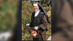Hello, Internet, and Tumblr: bestfunny:Say hello to Sister Margaret Ann, the chainsaw wielding nun helping out after Hurricane Irma down in Flordia. Sister Margaret Ann is quickly becoming an internet sensation and potentially the newest icon with a killer swing.
