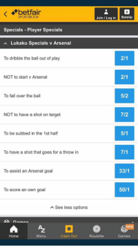 Look at the Lukaku betting specials that are offered for tomorrow's match 😂😂 https://t.co/JB6GideCgn: betfair  SPORTSBOOK  Join Log in Betslip  Specials Player Specials  Lukaku Specials v Arsenal  To dribble the ball out of play  NOT to start v Arsenal  To fall over the ball  5/2  NOT to have a shot on target  7/2  To be subbed in the 1st half  To have a shot that goes for a throw in  To assist an Arsenal goal  33/1  To score an own goal  50/1  A See less options  NE  Home  Menu  Cash Out  Roulette  Games Look at the Lukaku betting specials that are offered for tomorrow's match 😂😂 https://t.co/JB6GideCgn