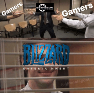 Blizzard, Game, and Bethesda: BETHESDA  Gamers  GAME STDIOS  Gamers  E N T E R TA I N ME N T  ulg  0 Meanwhile @ Blizzard
