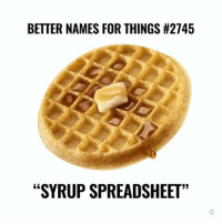 """BETTER NAMES FOR THINGS #2745  """"SYRUP SPREADSHEET """"Waffle."""" https://t.co/z6ykgmIQKe"""
