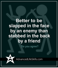 Fac, Memes, and Back: Better to be  slapped in the fac<e  by an enemy than  stabbed in the back  by a friend  Do you agree?  AdvancedLifeSkills.com <3 #AdvancedLifeSkills