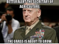 Mattis memes never get old 🇺🇸: BETTERALERT THESECRETARY OF  AGRICULTURE  THE GRASS ISABOUT TO GROW Mattis memes never get old 🇺🇸