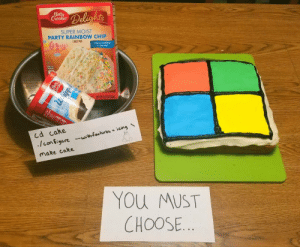 Which would you rather eat … Ubuntu or Windows: Betty  Crocker  Delights  SUPER MOIST  PARTY RAINBOW CHIP  CAKE MIX  There's pudding  in the mixd  NET WT 15,25 02 /4329)  cd cake  /Con figure-withfeatures icing  make cake  YOu MUST  CHOOSE..  Betty  Chocke  Whippe  FROSTIN Which would you rather eat … Ubuntu or Windows