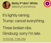 ❤️️: Betty F*ckin' White  @BettyFckinWhite  It's lightly raining  Trump: cancel everything  Three broken ribs.  Ginsburg: sorry I'm late.  11/10/18, 7:06 PM ❤️️