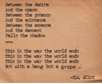 Descently: Between the desire  And the spasm  Between the potencv  And the existence  Between the essence  And the descent  Falls the shadow  This is the wav the world ends  This is the wav the world ends  This is the wav the world ends  Not with a bang but a grope  -TS, Eliot