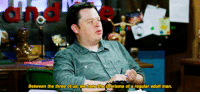 "Target, Tumblr, and Blog: Between the three of us, we have the charisma of a regular adutt man. boydetective:[Caption: Three gifs of the McElroy brothers on their Seeso show My Brother, My Brother, and Me. Griffin says, ""Just want to say, I don't have any charisma. So…"" Travis says, ""Well, one of us has charisma."" Griffin says, ""Okay."" Justin says, ""Between the three of us, we have the charisma of a regular adult man.""]"