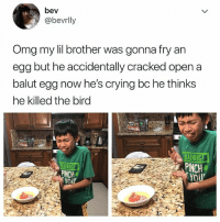LOL it happens 😂: bev  @bevrlly  Omg my lil brother was gonna fry an  egg but he accidentally cracked open a  balut egg now he's crying bc he thinks  he killed the birg  ARNING!  PINCH  YOU  PINCH LOL it happens 😂
