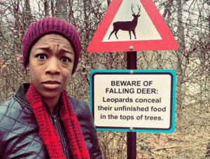 But no warnings about leopards?: BEWARE OF  FALLING DEER:  Leopards conceal  their unfinished food  in the tops of trees But no warnings about leopards?