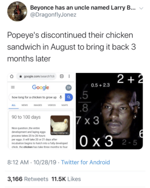 Big brain activated: Beyonce has an uncle named Larry B...  @DragonflyJonez  Popeye's discontinued their chicken  sandwich in August to bring it back 3  months later  2 +2  google.com/search?cli  14  0.5 2.3  Google  ТР  .5  how long for a chicken to grow up  .8  ALL  NEWS  IMAGES  VIDEOS  МAPS  90 to 100 days  7 x 3  Nice question the entire  development and laying eggs  timbercreekfarme...  process takes 25 to 26 hours  Ох3 2-5  per eggs .It will take 20 or 21 days after  incubation begins to hatch into a fully developed  chick. the chicken has take three months to four  8:12 AM 10/28/19 Twitter for Android  3,166 Retweets 11.5K Likes  1P  .. Big brain activated