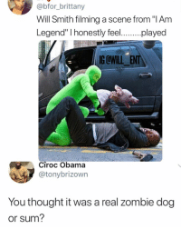 """😂Legendary: @bfor_brittany  Will Smith filming a scene from """"I Am  y fe.played  egen  G OWILL ENT  Ciroc Obama  @tonybrizown  You thought it was a real zombie dog  or sum? 😂Legendary"""