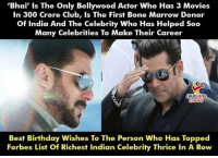 Birthday Wishes To #SalmanKhan 🎂 :): 'Bhai' Is The Only Bollywood Actor Who Has 3 Movies  In 300 Crore Club, Is The First Bone Marrow Donor  Of India And The Celebrity Who Has Helped Soo  Many Celebrities To Make Their Career  LAUGHING  Best Birthday Wishes To The Person Who Has Topped  Forbes List Of Richest Indian Celebrity Thrice In A Row Birthday Wishes To #SalmanKhan 🎂 :)
