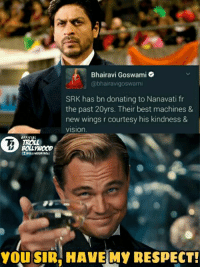 Shah Rukh Khan Guruji ❤👐  #TrollBollywood #Raj* #VD: Bhairavi Goswami  @bhairavi goswam  SRK has bn donating to Nanavati fr  the past 20yrs. Their best machines &  new wings r courtesy his kindness &  VISIOn.  OFFICIAL  You SIR HAVE MY RESPECT! Shah Rukh Khan Guruji ❤👐  #TrollBollywood #Raj* #VD
