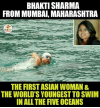 Hats-Off To Bhakti Sharma.. (Y): BHAKTI SHARMA  FROM MUMBAI, MAHARASHTRA  LA  THE FIRST ASIAN WOMAN &  THE WORLDS YOUNGEST TO SWIM  IN ALL THE FIVE OCEANS Hats-Off To Bhakti Sharma.. (Y)